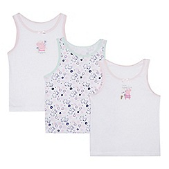 Peppa Pig - Pack of three girl's white 'Peppa Pig' cotton vests