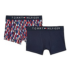 Tommy Hilfiger - Pack of two navy plain and logo printed trunks