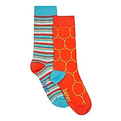 Baker by Ted Baker - Pack of two boys' assorted stripes and circles socks