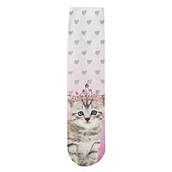 bluezoo - Girls' pink princess kitten socks