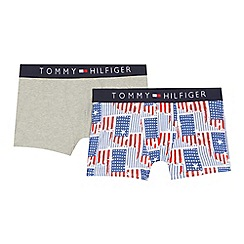 Tommy Hilfiger - Pack of two boys' grey and multi-coloured American flag print trunks