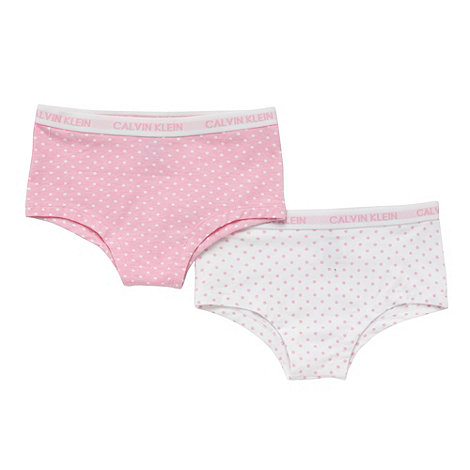 Calvin Klein - Girl+s pack of two pink and white boy shorts