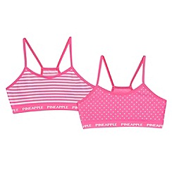 Pineapple - Set of two girls' pink star print crop tops