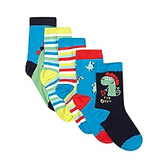 bluezoo - Set of five boys' assorted dinosaur socks