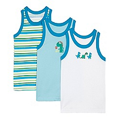 bluezoo - Pack of three boys' blue dinosaur vests