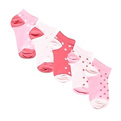 bluezoo - Pack of five girls' pink spotted socks