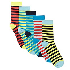 Debenhams - Pack of five boys' assorted striped socks