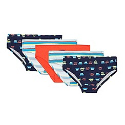 bluezoo - Pack of five boys' assorted vehicle print briefs