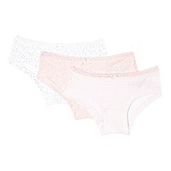 J by Jasper Conran - Pack of three girls' pink marl, striped and white star print hipster briefs