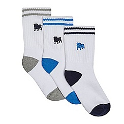 J by Jasper Conran - Pack of three boys' white logo stitched ribbed cuff socks
