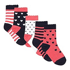 bluezoo - Pack of five girls' pink heart socks