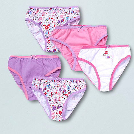 bluezoo - Girl's pack of five pink white and purple owl and deer briefs