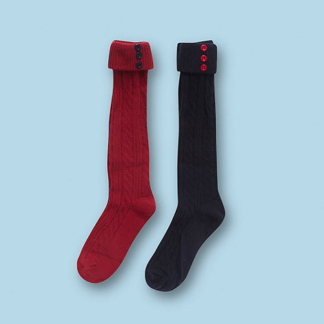 J by Jasper Conran - Designer girl+s pack of two red and navy over the knee socks