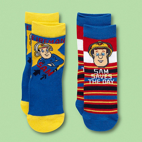 Fireman Sam - Boy+s pack of two blue +Fireman Sam+ socks