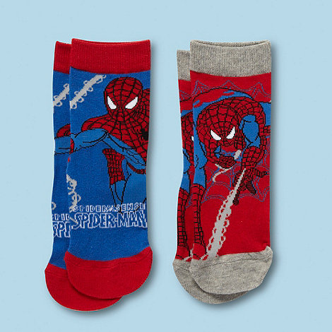 Spider-man - Boy+s pack of two red and blue +Spiderman+ socks