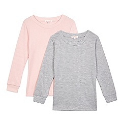 Debenhams - Pack of two girls' multi-coloured thermal tops