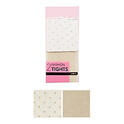 Debenhams - Pack of two girls' white spotted print and gold glitter striped tights