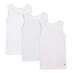 J by Jasper Conran - Pack of three girls' white printed vests