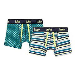 Baker by Ted Baker - Pack of two boys' green and grey trunks