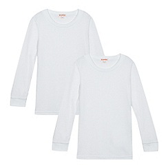 Debenhams - Pack of two girls' white long sleeved thermal tops