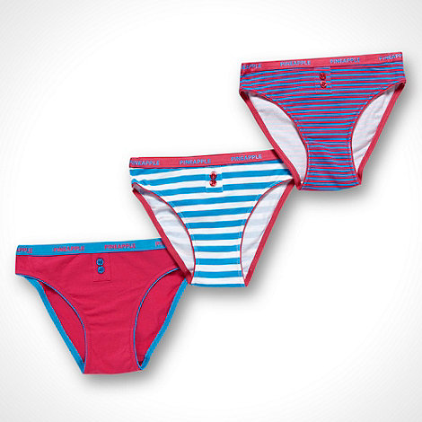 Pineapple - Girl's pack of three pink plain and striped briefs