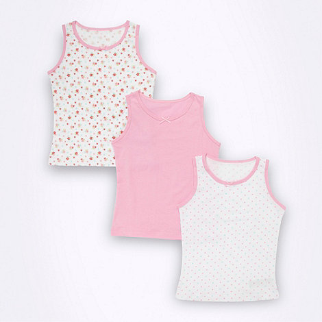 bluezoo - Girl+s pack of three pink floral vests