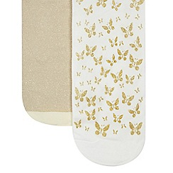 Debenhams - Pack of two girl's white and gold glitter and butterfly tights