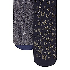 Debenhams - Pack of two girl's navy glitter and butterfly tights