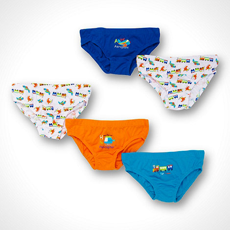 bluezoo - Boy+s pack of five plain and transport patterned briefs