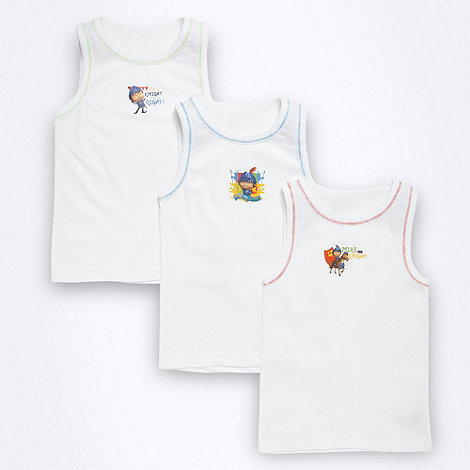 Mike the Knight - Boy+s pack of three white +Mike the Knight+ vests