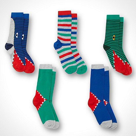 bluezoo - Boy+s pack of five striped novelty socks