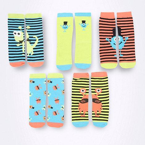 bluezoo - Boy+s pack of five novelty monster socks