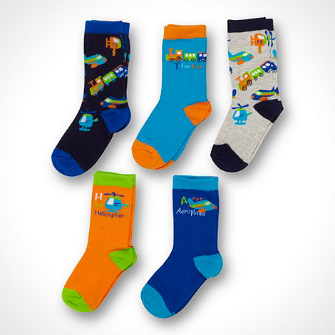 bluezoo - Boy+s pack of five blue transport socks