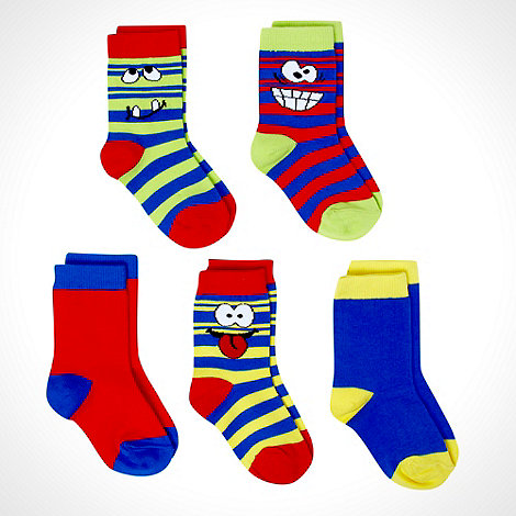 bluezoo - Boy's pack of five multi funny face socks