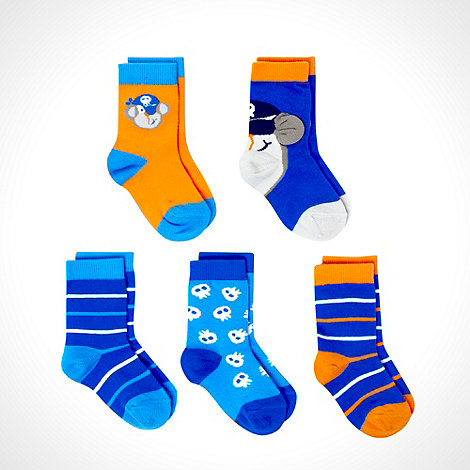 bluezoo - Boy+s pack of five multi monkey socks
