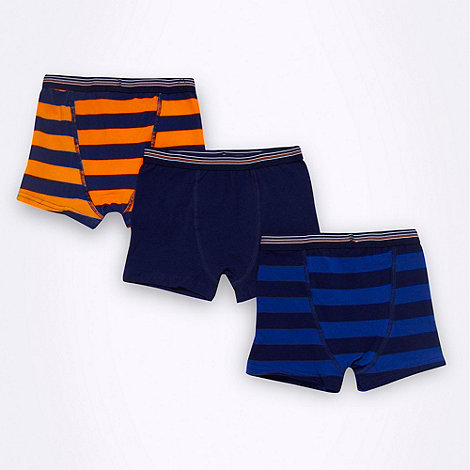 bluezoo - Boy+s pack of three navy striped trunks