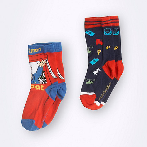 Postman Pat - Boy+s pack of two navy and red +Postman Pat+ socks