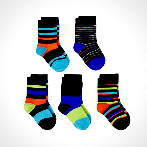 bluezoo - Boy+s pack of five black multi striped socks