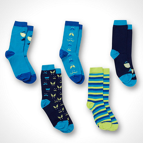 bluezoo - Boy+s blue 5pack moustache socks