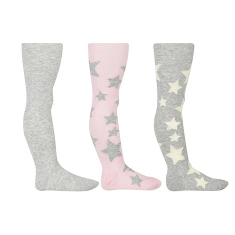 bluezoo - Girl+s pack of three pink and grey star tights