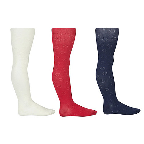 bluezoo - Girl+s pack of three navy, pink and ivory heart tights