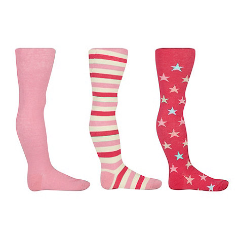 bluezoo - Girl+s pack of three pink striped and star tights