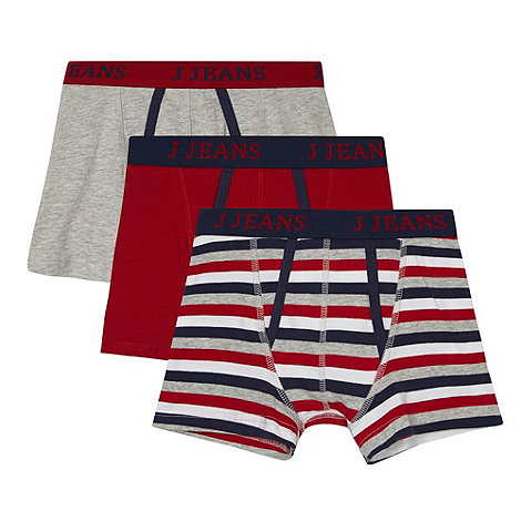 J by Jasper Conran - Designer boy+s pack of three grey and red trunks