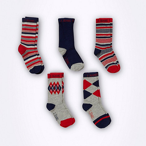 J by Jasper Conran - Designer boy+s pack of five navy patterned socks