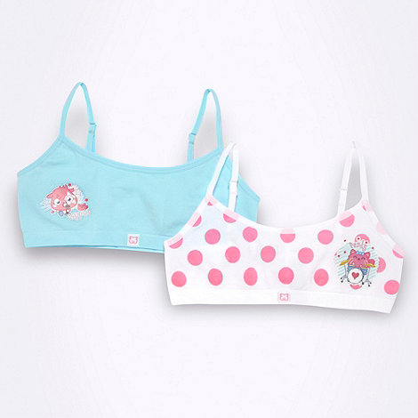 Moshi Monsters - Pack of two girl+s blue Moshi Monsters crop tops