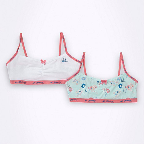 Mantaray - Girl+s pack of two white and light green floral crop tops