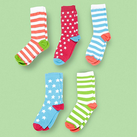 bluezoo - Pink 5pack stars & stripes ankle socks
