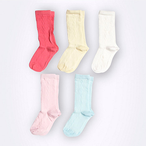 bluezoo - Girl+s pack of five pink blue yellow and white pastel colour socks