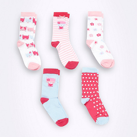 bluezoo - Girl+s pack of five pink patterned ankle socks