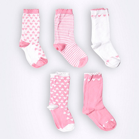 bluezoo - Girl+s pack of five pink striped and heart patterned socks